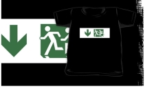 Accessible Means of Egress Icon Exit Sign Wheelchair Wheelie Running Man Symbol by Lee Wilson PWD Disability Emergency Evacuation Kids T-shirt 173