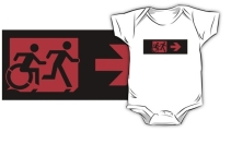 Accessible Means of Egress Icon Exit Sign Wheelchair Wheelie Running Man Symbol by Lee Wilson PWD Disability Emergency Evacuation Kids T-shirt 174