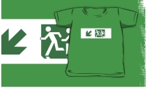 Accessible Means of Egress Icon Exit Sign Wheelchair Wheelie Running Man Symbol by Lee Wilson PWD Disability Emergency Evacuation Kids T-shirt 175