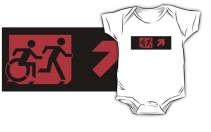 Accessible Means of Egress Icon Exit Sign Wheelchair Wheelie Running Man Symbol by Lee Wilson PWD Disability Emergency Evacuation Kids T-shirt 176