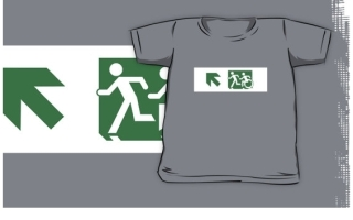 Accessible Means of Egress Icon Exit Sign Wheelchair Wheelie Running Man Symbol by Lee Wilson PWD Disability Emergency Evacuation Kids T-shirt 177