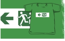 Accessible Means of Egress Icon Exit Sign Wheelchair Wheelie Running Man Symbol by Lee Wilson PWD Disability Emergency Evacuation Kids T-shirt 179