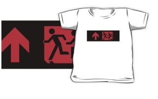 Accessible Means of Egress Icon Exit Sign Wheelchair Wheelie Running Man Symbol by Lee Wilson PWD Disability Emergency Evacuation Kids T-shirt 182