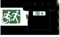 Accessible Means of Egress Icon Exit Sign Wheelchair Wheelie Running Man Symbol by Lee Wilson PWD Disability Emergency Evacuation Kids T-shirt 183