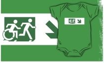Accessible Means of Egress Icon Exit Sign Wheelchair Wheelie Running Man Symbol by Lee Wilson PWD Disability Emergency Evacuation Kids T-shirt 185