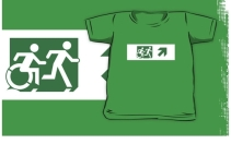 Accessible Means of Egress Icon Exit Sign Wheelchair Wheelie Running Man Symbol by Lee Wilson PWD Disability Emergency Evacuation Kids T-shirt 187