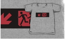Accessible Means of Egress Icon Exit Sign Wheelchair Wheelie Running Man Symbol by Lee Wilson PWD Disability Emergency Evacuation Kids T-shirt 188