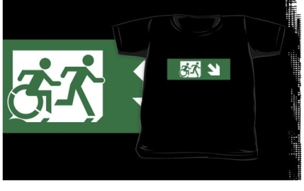 Accessible Means of Egress Icon Exit Sign Wheelchair Wheelie Running Man Symbol by Lee Wilson PWD Disability Emergency Evacuation Kids T-shirt 19