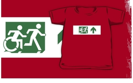 Accessible Means of Egress Icon Exit Sign Wheelchair Wheelie Running Man Symbol by Lee Wilson PWD Disability Emergency Evacuation Kids T-shirt 191