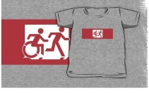 Accessible Means of Egress Icon Exit Sign Wheelchair Wheelie Running Man Symbol by Lee Wilson PWD Disability Emergency Evacuation Kids T-shirt 193