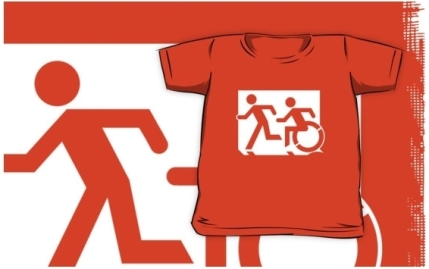 Accessible Means of Egress Icon Exit Sign Wheelchair Wheelie Running Man Symbol by Lee Wilson PWD Disability Emergency Evacuation Kids T-shirt 194