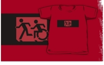 Accessible Means of Egress Icon Exit Sign Wheelchair Wheelie Running Man Symbol by Lee Wilson PWD Disability Emergency Evacuation Kids T-shirt 197