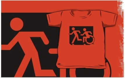 Accessible Means of Egress Icon Exit Sign Wheelchair Wheelie Running Man Symbol by Lee Wilson PWD Disability Emergency Evacuation Kids T-shirt 199