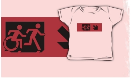 Accessible Means of Egress Icon Exit Sign Wheelchair Wheelie Running Man Symbol by Lee Wilson PWD Disability Emergency Evacuation Kids T-shirt 20