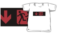 Accessible Means of Egress Icon Exit Sign Wheelchair Wheelie Running Man Symbol by Lee Wilson PWD Disability Emergency Evacuation Kids T-shirt 200
