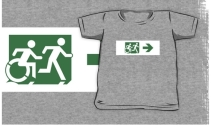 Accessible Means of Egress Icon Exit Sign Wheelchair Wheelie Running Man Symbol by Lee Wilson PWD Disability Emergency Evacuation Kids T-shirt 204