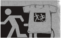 Accessible Means of Egress Icon Exit Sign Wheelchair Wheelie Running Man Symbol by Lee Wilson PWD Disability Emergency Evacuation Kids T-shirt 205