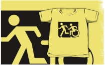 Accessible Means of Egress Icon Exit Sign Wheelchair Wheelie Running Man Symbol by Lee Wilson PWD Disability Emergency Evacuation Kids T-shirt 208