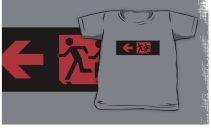 Accessible Means of Egress Icon Exit Sign Wheelchair Wheelie Running Man Symbol by Lee Wilson PWD Disability Emergency Evacuation Kids T-shirt 209
