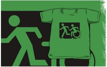 Accessible Means of Egress Icon Exit Sign Wheelchair Wheelie Running Man Symbol by Lee Wilson PWD Disability Emergency Evacuation Kids T-shirt 211