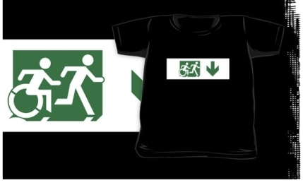 Accessible Means of Egress Icon Exit Sign Wheelchair Wheelie Running Man Symbol by Lee Wilson PWD Disability Emergency Evacuation Kids T-shirt 213