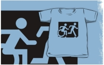Accessible Means of Egress Icon Exit Sign Wheelchair Wheelie Running Man Symbol by Lee Wilson PWD Disability Emergency Evacuation Kids T-shirt 214