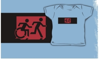 Accessible Means of Egress Icon Exit Sign Wheelchair Wheelie Running Man Symbol by Lee Wilson PWD Disability Emergency Evacuation Kids T-shirt 215