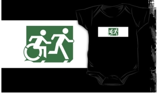 Accessible Means of Egress Icon Exit Sign Wheelchair Wheelie Running Man Symbol by Lee Wilson PWD Disability Emergency Evacuation Kids T-shirt 216