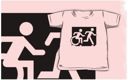 Accessible Means of Egress Icon Exit Sign Wheelchair Wheelie Running Man Symbol by Lee Wilson PWD Disability Emergency Evacuation Kids T-shirt 217