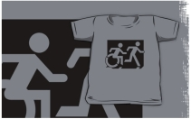 Accessible Means of Egress Icon Exit Sign Wheelchair Wheelie Running Man Symbol by Lee Wilson PWD Disability Emergency Evacuation Kids T-shirt 220