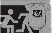 Accessible Means of Egress Icon Exit Sign Wheelchair Wheelie Running Man Symbol by Lee Wilson PWD Disability Emergency Evacuation Kids T-shirt 223