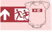 Accessible Means of Egress Icon Exit Sign Wheelchair Wheelie Running Man Symbol by Lee Wilson PWD Disability Emergency Evacuation Kids T-shirt 225