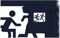 Accessible Means of Egress Icon Exit Sign Wheelchair Wheelie Running Man Symbol by Lee Wilson PWD Disability Emergency Evacuation Kids T-shirt 226