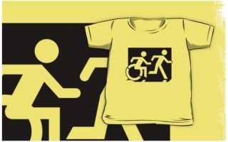Accessible Means of Egress Icon Exit Sign Wheelchair Wheelie Running Man Symbol by Lee Wilson PWD Disability Emergency Evacuation Kids T-shirt 229