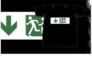 Accessible Means of Egress Icon Exit Sign Wheelchair Wheelie Running Man Symbol by Lee Wilson PWD Disability Emergency Evacuation Kids T-shirt 230