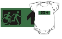 Accessible Means of Egress Icon Exit Sign Wheelchair Wheelie Running Man Symbol by Lee Wilson PWD Disability Emergency Evacuation Kids T-shirt 234