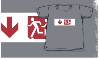 Accessible Means of Egress Icon Exit Sign Wheelchair Wheelie Running Man Symbol by Lee Wilson PWD Disability Emergency Evacuation Kids T-shirt 237