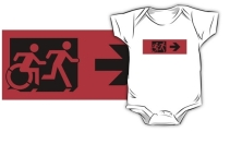 Accessible Means of Egress Icon Exit Sign Wheelchair Wheelie Running Man Symbol by Lee Wilson PWD Disability Emergency Evacuation Kids T-shirt 24