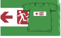 Accessible Means of Egress Icon Exit Sign Wheelchair Wheelie Running Man Symbol by Lee Wilson PWD Disability Emergency Evacuation Kids T-shirt 243