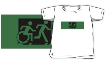 Accessible Means of Egress Icon Exit Sign Wheelchair Wheelie Running Man Symbol by Lee Wilson PWD Disability Emergency Evacuation Kids T-shirt 244