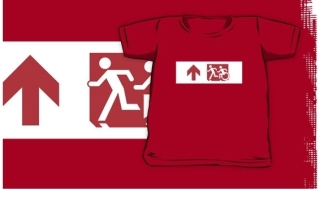 Accessible Means of Egress Icon Exit Sign Wheelchair Wheelie Running Man Symbol by Lee Wilson PWD Disability Emergency Evacuation Kids T-shirt 245