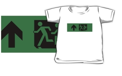 Accessible Means of Egress Icon Exit Sign Wheelchair Wheelie Running Man Symbol by Lee Wilson PWD Disability Emergency Evacuation Kids T-shirt 246