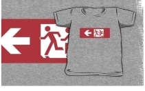 Accessible Means of Egress Icon Exit Sign Wheelchair Wheelie Running Man Symbol by Lee Wilson PWD Disability Emergency Evacuation Kids T-shirt 249