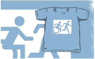 Accessible Means of Egress Icon Exit Sign Wheelchair Wheelie Running Man Symbol by Lee Wilson PWD Disability Emergency Evacuation Kids T-shirt 250