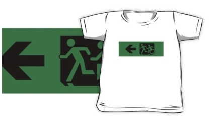 Accessible Means of Egress Icon Exit Sign Wheelchair Wheelie Running Man Symbol by Lee Wilson PWD Disability Emergency Evacuation Kids T-shirt 251
