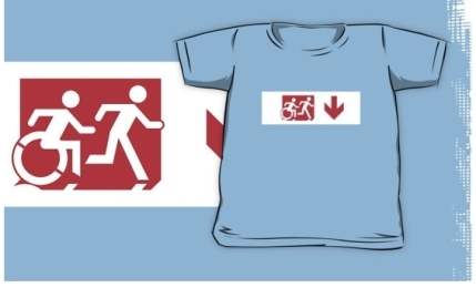 Accessible Means of Egress Icon Exit Sign Wheelchair Wheelie Running Man Symbol by Lee Wilson PWD Disability Emergency Evacuation Kids T-shirt 252