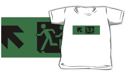 Accessible Means of Egress Icon Exit Sign Wheelchair Wheelie Running Man Symbol by Lee Wilson PWD Disability Emergency Evacuation Kids T-shirt 253