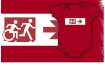Accessible Means of Egress Icon Exit Sign Wheelchair Wheelie Running Man Symbol by Lee Wilson PWD Disability Emergency Evacuation Kids T-shirt 258