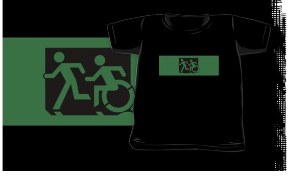 Accessible Means of Egress Icon Exit Sign Wheelchair Wheelie Running Man Symbol by Lee Wilson PWD Disability Emergency Evacuation Kids T-shirt 259