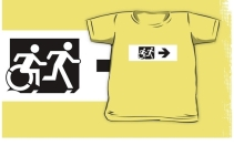 Accessible Means of Egress Icon Exit Sign Wheelchair Wheelie Running Man Symbol by Lee Wilson PWD Disability Emergency Evacuation Kids T-shirt 263